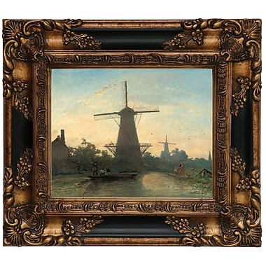 Astoria Grand 'Mills Near Rotterdam 1857' Framed Oil Painting Print on Canvas; 13.25'' H x 15.25'' W
