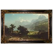 Astoria Grand 'Lake Lucerne 1858' Framed Oil Painting Print on Canvas; Gold/Black Frame