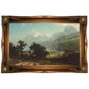 Astoria Grand 'Lake Lucerne 1858' Framed Oil Painting Print on Canvas; Ornate Gold Frame