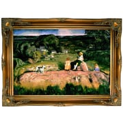 Darby Home Co 'Three Children 1919' Framed Oil Painting Print on Canvas; Ornate Gold Frame