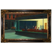 Darby Home Co 'Nighthawks' by Edward Hopper Framed Oil Painting Print on Canvas; Gold/Black Frame