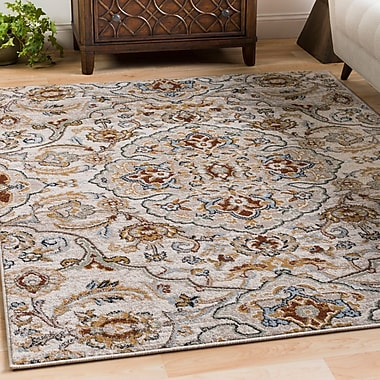 Charlton Home Lenora Floral and Plants Light Gray Indoor/Outdoor Area Rug; 5'3'' x 7'3''