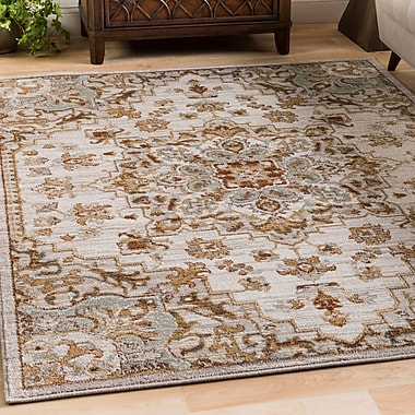 Charlton Home Lenora Classic Floral and Plants Light Gray Indoor/Outdoor Area Rug; 2' x 3'