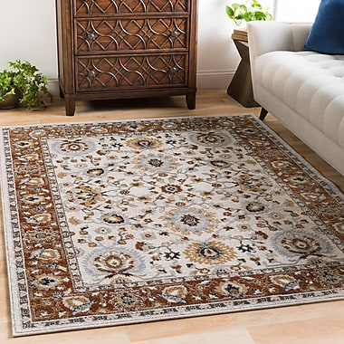 Charlton Home Lenora Floral and Plants Burnt Orange Indoor/Outdoor Area Rug; 2' x 3'