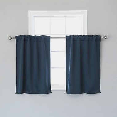 Charlton Home Lenore Solid Blackout Thermal Rod Pocket Curtain Panels (Set of 2); Navy