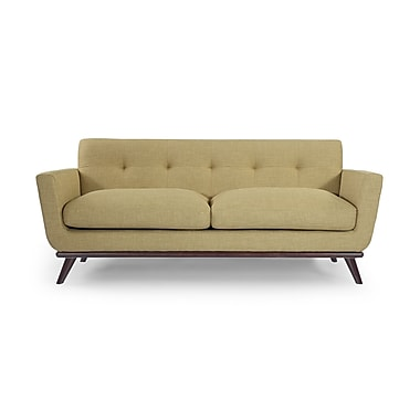 Corrigan Studio Luther Mid Century Modern Vintage Sofa w/ Flared Arms; Lemon Grass