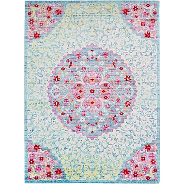 Bungalow Rose Lyngby-Taarb k Classic Aqua/Dark Red Area Rug; 3'11'' x 5'11''