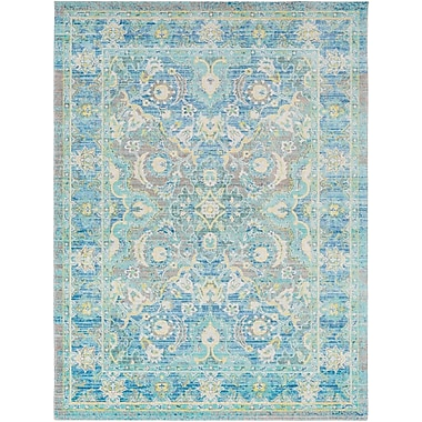Bungalow Rose Lyngby-Taarb k Floral and Plants Aqua Area Rug; 3'11'' x 5'11''