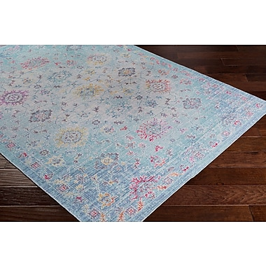 Bungalow Rose Lyngby-Taarb k Classic Floral and Plants Aqua Area Rug; 3' x 5'