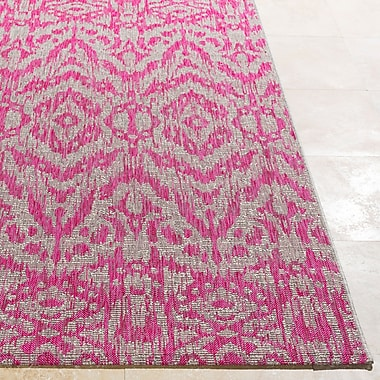 Bungalow Rose Fonwhary Abstract Bright Pink Indoor/Outdoor Area Rug; 2' x 3'