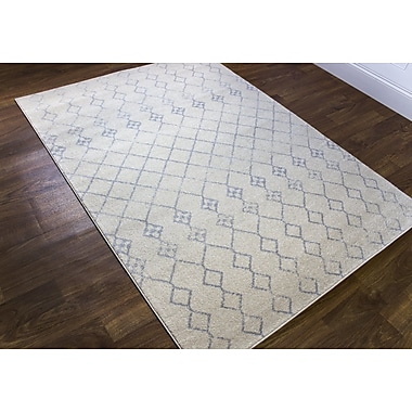Bungalow Rose N'de Transitional Ivory/Gray Area Rug; 5'3'' x 7'3''