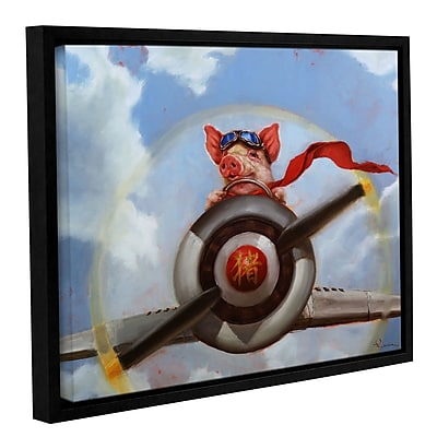 Harriet Bee 'When Pigs Fly' Framed Painting Print on Canvas; 14'' H x 18'' W x 2'' D