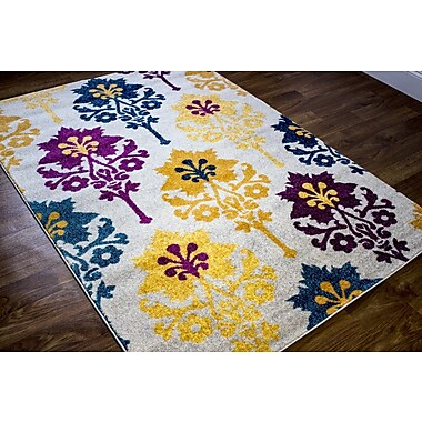 Ebern Designs Merissa Transitional Ikat Gray/Yellow Area Rug; 5'3'' x 7'3''