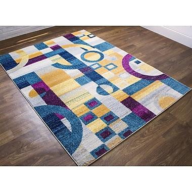 Ebern Designs Merissa Modern Retro Gray/Blue Area Rug; 5'3'' x 7'3''