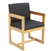 Ebern Designs Elianna Sled Base Side Chair; Medium Oak/ Black