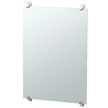 Gatco Quantra Minimalist Frameless Fixed Mounted Rectangle Bathroom Mirror; Satin Nickel