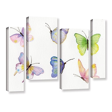 Harriet Bee 'Floral Delight Element IV' Rectangle Framed Print Multi-Piece Image on Canvas in White