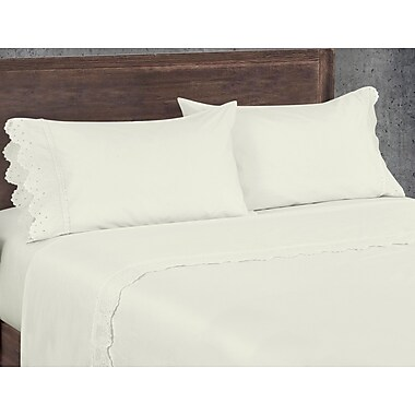 One Allium Way Aurillac West Coast 200 Thread Count 100pct Cotton Sheet Set; Ivory
