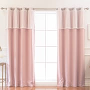 One Allium Way Amoll Dot Valance Solid Blackout Thermal Grommet Curtain Panels (Set of 2)