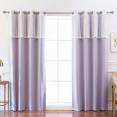 One Allium Way Amoll Dot Valance Solid Blackout Thermal Grommet Curtain Panels (Set of 2); Lilac