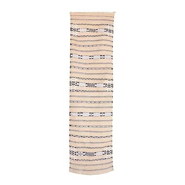 Indigo&Lavender Azilal Vintage Moroccan Hand Knotted Wool Beige/Black Area Rug; Runner 2'2'' x 8'5''