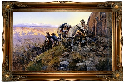 Loon Peak 'When Shadows Hint Death' Framed Oil Painting Print on Canvas; Ornate gold frame