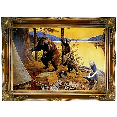 Loon Peak 'Time for Action' Framed Oil Painting Print on Canvas; Ornate Gold Frame