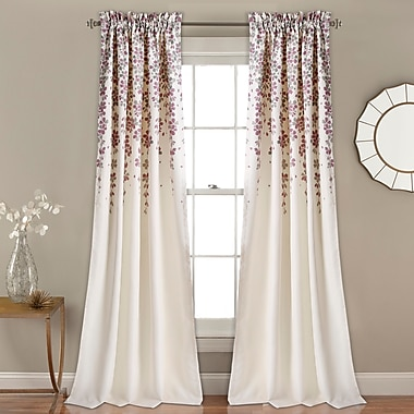 Latitude Run Heidelberg Floral Room Darkening Rod Pocket Curtain Panels (Set of 2); Cream/Purple