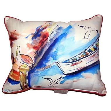 Highland Dunes Bradon Rowboat and Birds Indoor/Outdoor Lumbar Pillow; 11'' x 14''