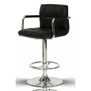Orren Ellis Clower Contemporary Footrest Adjustable Height Swivel Bar Stool; Black