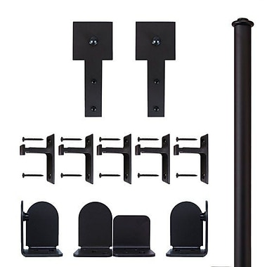 Quiet Glide Cube Stick Barn Door Hardware Kit; Black
