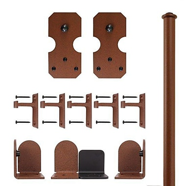 Quiet Glide Notched Rectangle Barn Door Hardware Kit; New Age Rust