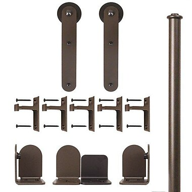 Quiet Glide Stick Barn Door Hardware Kit; Oil Rubbed Bronze