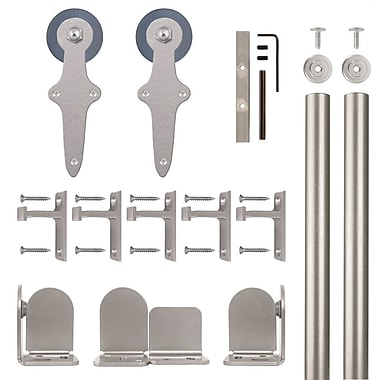 Quiet Glide Wright Barn Door Hardware Kit; Satin Nickel