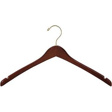 Rebrilliant Curved Wooden Top Hanger (Set of 25); Walnut/Brass