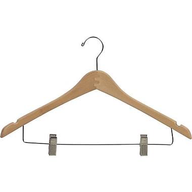 Rebrilliant Curved Wooden Combo Hanger w/ Adjustable Cushion Clips (Set of 50); Natural/Chrome