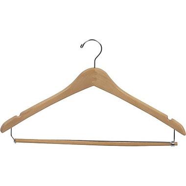 Rebrilliant Curved Wooden Suit Hanger w/ Locking Pant Bar (Set of 100); Natural