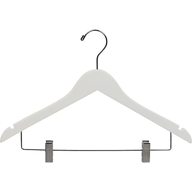 Rebrilliant Wooden Combo Hangers w/ Adjustable Cushion Clips (Set of 100); White/Chrome
