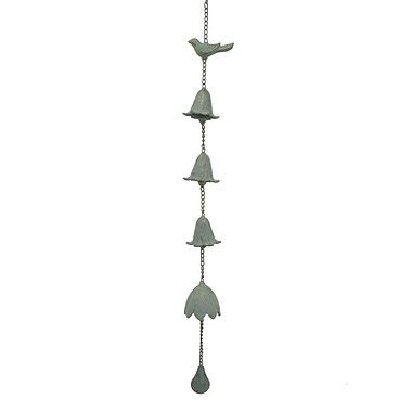 Three Hands Metal Hanging Bell; Green