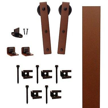 Quiet Glide Hook Strap Barn Door Hardware Kit; New Age Rust