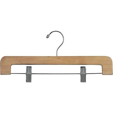 Rebrilliant Rounded Wooden Pant Hanger w/ Adjustable Cushion Clips (Set of 25); Natural/Chrome