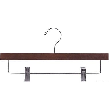 Rebrilliant Rubberized Wooden Pant Non-Slip Hanger w/ Adjustable Cushion Clips (Set of 25); Walnut