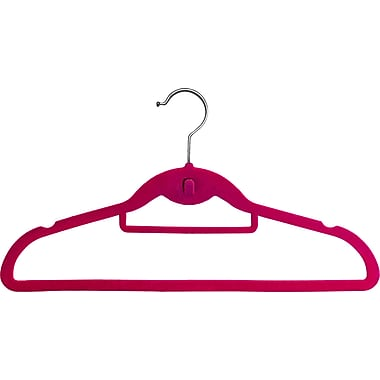 Rebrilliant Streamlined Slimline Velvet Non-Slip Hanger w/ Notches and Tie Bar (Set of 50); Pink