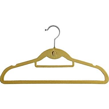 Rebrilliant Slimline Velvet Non-Slip Hanger w/ Notches and Tie Bar (Set of 100); Beige