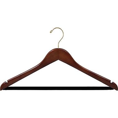 Rebrilliant Wooden Suit Non-Slip Hangers w/ Velvet Bar (Set of 25); Walnut/Brass