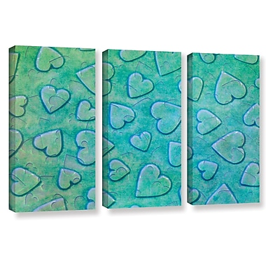 Zoomie Kids 'Single Heart' 3 Piece Rectangle Graphic Art on Wrapped Canvas Set in Mint