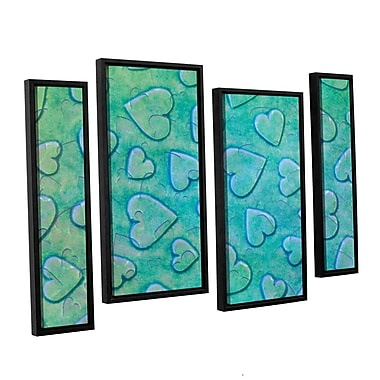 Zoomie Kids 'Single Heart' 4 Piece Framed Graphic Art on Wrapped Canvas Set in Mint
