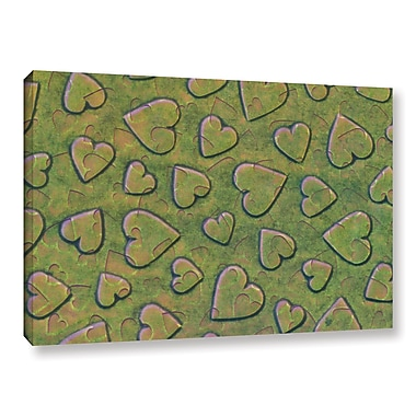 Zoomie Kids 'Single Heart' Graphic Art on Wrapped Canvas in Bronzegreen; 12'' H x 18'' W x 2'' D