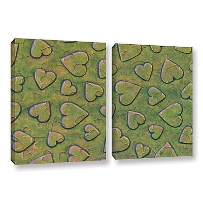 Zoomie Kids 'Single Heart' 2 Piece Graphic Art on Wrapped Canvas Set in Bronzegreen