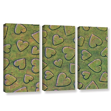 Zoomie Kids 'Single Heart' 3 Piece Rectangle Graphic Art on Wrapped Canvas Set in Bronzegreen